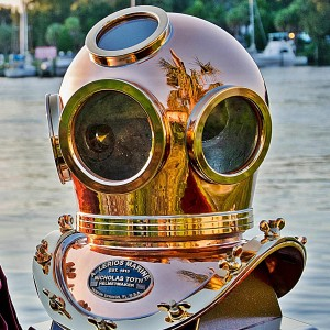 Full View of Diving Helmet on Waterfront-crop