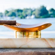 Royale Ashtray – Gold Macaubas Full Side View Close up