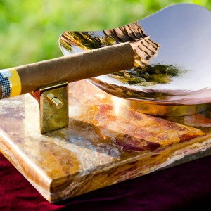 Royale Ashtray - Green Onyx Left Side View with Cigar