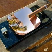 Royale Ashtray – Peacock Granite B & C Full Top View With Cigar