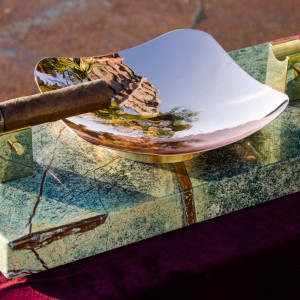 Royale Ashtray - Rainforest Marble Angled Full View with Cigar