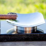 Royale Ashtray – Stainless Steel Mirror Finish Full Shot Green Background