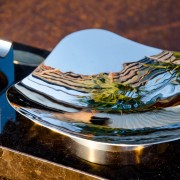 Royale Ashtray Stainless Steel Mirror Finish Up Close Angle